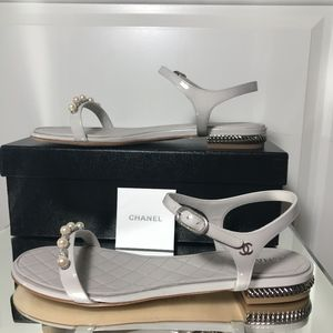 47891094ec2 CHANEL Shoes - NWT Chanel Pearl Patent Calfskin Sandals Grey
